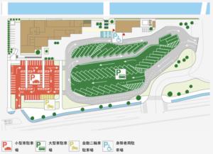 道の駅いちかわの駐車場の平面図