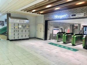 JR市川駅構内のシャポー側改札前のコインロッカー