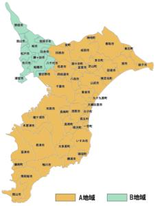 千葉県内のふっこう割のA地域とB地域の区分