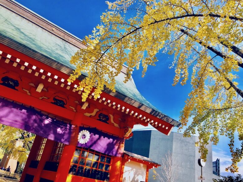 葛飾八幡宮とイチョウの写真